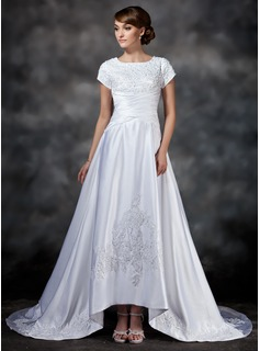 A-Line/Princess Square Neckline Asymmetrical Satin Wedding Dress With Ruffle Lace Beadwork