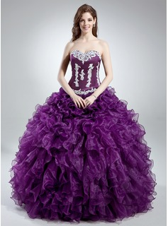 Ball-Gown Sweetheart Floor-Length Organza Satin Quinceanera Dress With Lace Cascading Ruffles