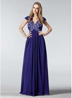A-Line/Princess V-neck Floor-Length Chiffon Prom Dress With Ruffle Beading Sequins (018004839)