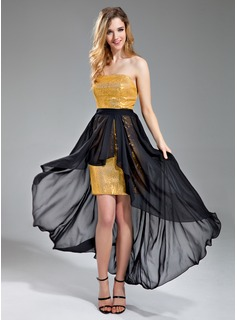 Sheath Strapless Asymmetrical Chiffon Sequined Evening Dress With Sash