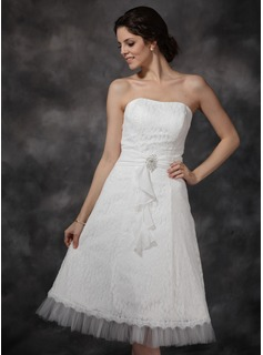 A-Line/Princess Sweetheart Tea-Length Chiffon Tulle Lace Wedding Dress With Ruffle Crystal Brooch (002021293)