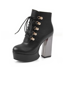 Real Leather Chunky Heel Platform Ankle Boots With Lace-up shoes