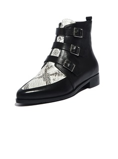 Real Leather Flat Heel Ankle Boots With Buckle shoes