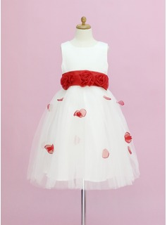 A-Line/Princess Scoop Neck Ankle-Length Organza Satin Tulle Flower Girl Dress With Sash Flower(s) Bow(s)