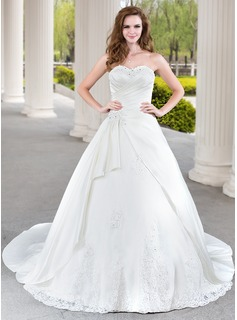Ball-Gown Sweetheart Chapel Train Satin Tulle Wedding Dress With Beading Appliques Lace Cascading Ruffles