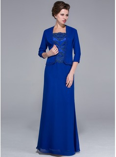 Sheath Square Neckline Floor-Length Chiffon Charmeuse Mother of the Bride Dress With Lace