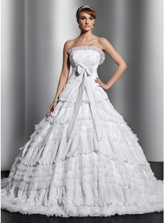 Ball-Gown Strapless Chapel Train Satin Tulle Lace Wedding Dress With Beading Bow(s) Pleated