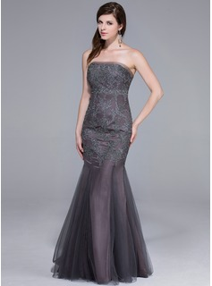 Trumpet/Mermaid Strapless Floor-Length Tulle Evening Dress With Lace