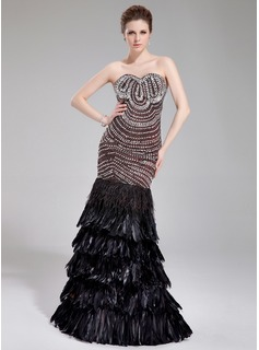 Mermaid Sweetheart Floor-Length Satin Feather Evening Dress With Beading (017019457)
