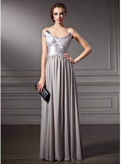 A-Line/Princess Scalloped Neck Floor-Length Chiffon Charmeuse Evening Dress With Ruffle (017025921)