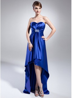 Empire Sweetheart Asymmetrical Charmeuse Evening Dress With Beading Sequins (017014988)