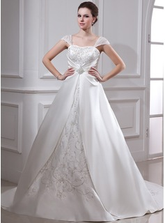 Ball-Gown Square Neckline Court Train Organza Satin Wedding Dress With Embroidery Ruffle Beadwork
