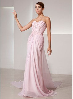 Sheath Sweetheart Watteau Train Chiffon Prom Dress With Ruffle Beading Sequins