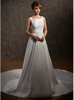 A-Line/Princess Scoop Neck Watteau Train Taffeta Wedding Dress With Ruffle