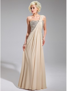 Sheath One-Shoulder Floor-Length Chiffon Sequined Evening Dress With Ruffle