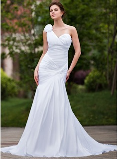 Trumpet/Mermaid One-Shoulder Chapel Train Taffeta Wedding Dress With Ruffle Flower(s)