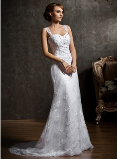 Sheath/Column Sweetheart Chapel Train Satin Lace Wedding Dress With Beadwork