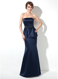 Mermaid Strapless Floor-Length Satin Holiday Dress With Ruffle Sash