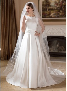 A-Line/Princess Scoop Neck Chapel Train Satin Wedding Dress With Beadwork