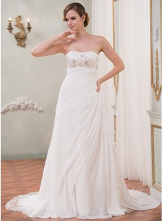 A-Line/Princess Sweetheart Cathedral Train Chiffon Sequined Wedding Dress With Beading Cascading Ruffles