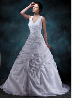 A-Line/Princess V-neck Court Train Taffeta Wedding Dress With Ruffle Lace Beadwork (002001588)