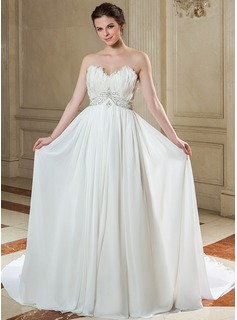 A-Line/Princess Sweetheart Court Train Chiffon Wedding Dress With Beading Feather Sequins