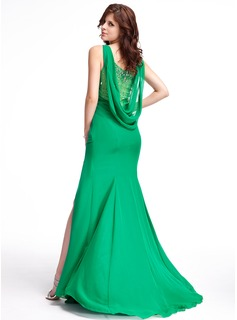 Trumpet/Mermaid Scoop Neck Sweep Train Chiffon Tulle Evening Dress With Ruffle Beading Split Front