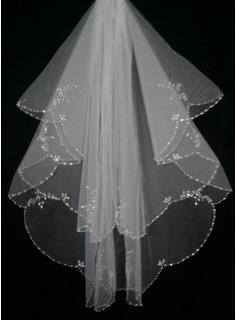 Two-tier Elbow Bridal Veils With Finished Edge