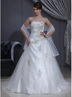 Ball-Gown Sweetheart Chapel Train Tulle Charmeuse Wedding Dress With Ruffle Beading Appliques Lace