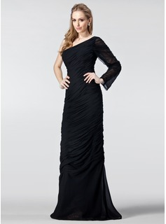 Sheath One-Shoulder Floor-Length Chiffon Evening Dress With Ruffle (017020986)
