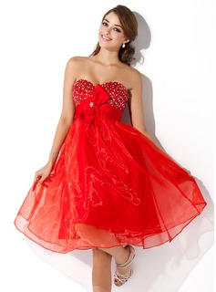 Empire Sweetheart Knee-Length Organza Satin Homecoming Dress With Beading Flower(s) (022009882)