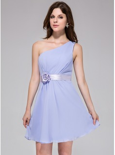 A-Line/Princess One-Shoulder Short/Mini Chiffon Charmeuse Bridesmaid Dress With Ruffle Sash Flower(s)