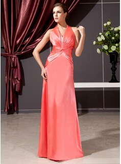 Sheath Halter Floor-Length Charmeuse Kate Middleton Style With Ruffle