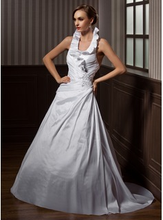 A-Line/Princess Halter Court Train Taffeta Wedding Dress With Ruffle Lace Beadwork Sequins (002012189)