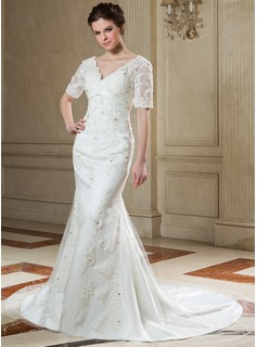 A-Line/Princess V-neck Chapel Train Satin Tulle Wedding Dress With Lace Beadwork
