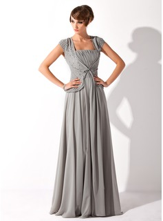 A-Line/Princess Square Neckline Floor-Length Chiffon Mother of the Bride Dress With Ruffle Beading (008005692)