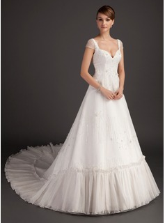 A-Line/Princess Sweetheart Cathedral Train Organza Satin Wedding Dress With Beadwork