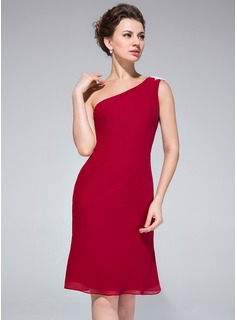 Sheath One-Shoulder Knee-Length Chiffon Cocktail Dress With Lace