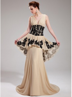 A-Line/Princess V-neck Court Train Chiffon Evening Dress With Ruffle Lace Beading Sequins (017019759)
