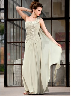 A-Line/Princess One-Shoulder Floor-Length Chiffon Mother of the Bride Dress With Ruffle Appliques