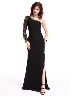 Sheath One-Shoulder Sweep Train Chiffon Tulle Evening Dress With Beading (017019455)