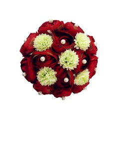 Classic Round Satin/Pearls Bridal Bouquets