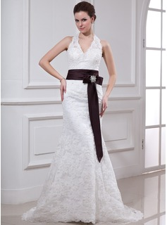 Sheath/Column Halter Court Train Satin Lace Wedding Dress With Sashes Crystal Brooch