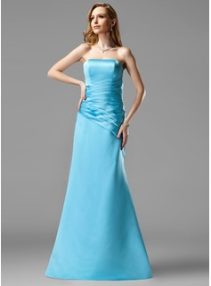 A-Line/Princess Sweetheart Floor-Length Satin Bridesmaid Dress With Ruffle