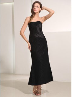 Sheath Sweetheart Ankle-Length Satin Lace Holiday Dress With Ruffle Lace