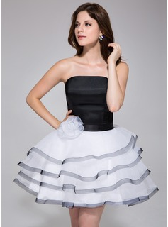 A-Line/Princess Strapless Short/Mini Organza Charmeuse Homecoming Dress With Flower(s) Cascading Ruffles