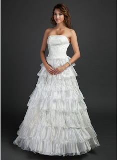 Ball-Gown Strapless Floor-Length Organza Satin Wedding Dress With Lace