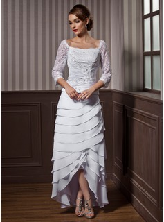 A-Line/Princess Square Neckline Asymmetrical Chiffon Wedding Dress With Ruffle Lace Beading