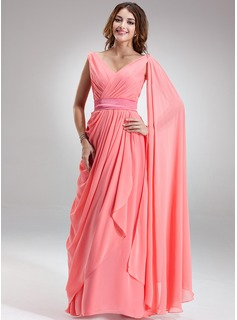 A-Line/Princess V-neck Floor-Length Chiffon Charmeuse Evening Dress With Ruffle