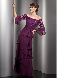 A-Line/Princess Off-the-Shoulder Floor-Length Chiffon Tulle Charmeuse Mother of the Bride Dress With Lace Beading Sequins